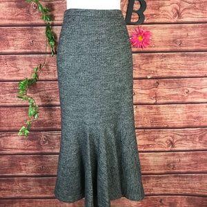 Doncaster Skirt 2 Black White Wool Mermaid Calf